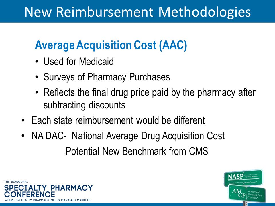 New Reimbursement Methodologies Average Acquisition Cost (AAC) Used for Medicaid Surveys of Pharmacy Purchases Reflects the final drug price paid by t