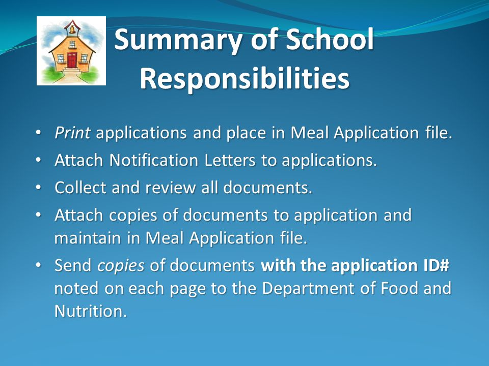 Print applications and place in Meal Application file.
