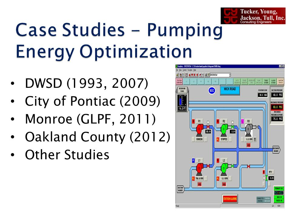 DWSD (1993, 2007) City of Pontiac (2009) Monroe (GLPF, 2011) Oakland County (2012) Other Studies