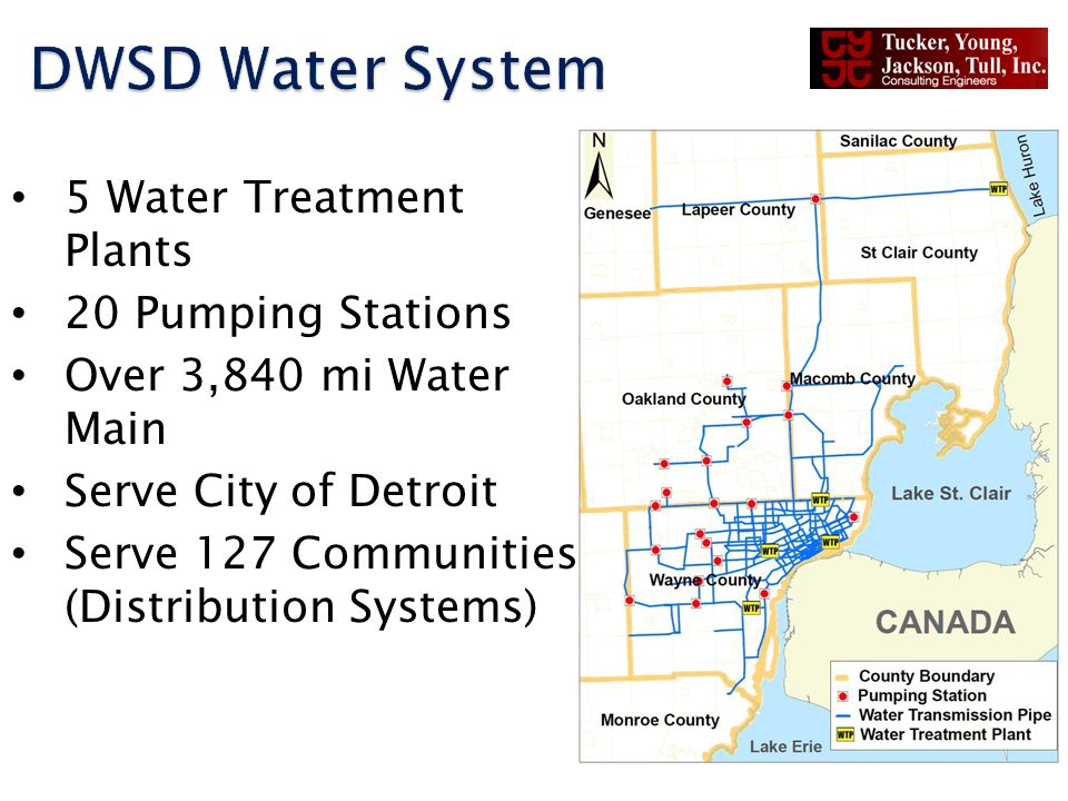 5 Water Treatment Plants 20 Pumping Stations Over 3,840 mi Water Main Serve City of Detroit Serve 127 Communities (Distribution Systems)