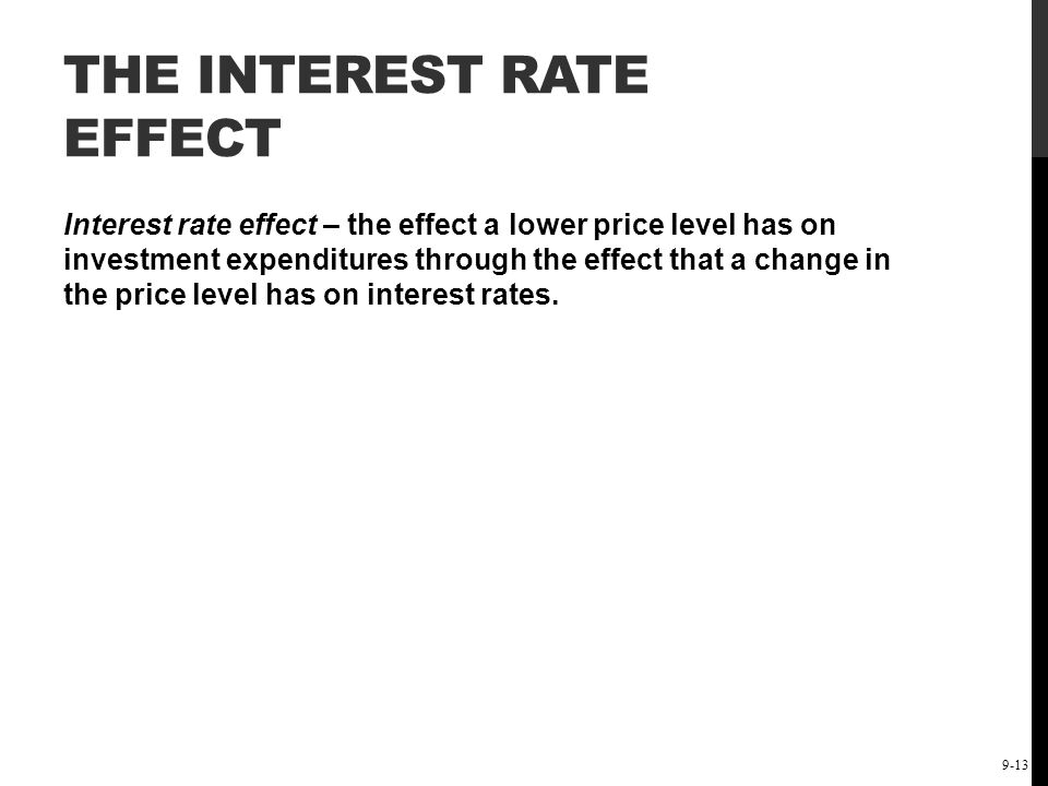 The Short-Run Keynesian Policy Model: Demand-Side Policies 9-13 THE INTEREST RATE EFFECT Interest rate effect – the effect a lower price level has on
