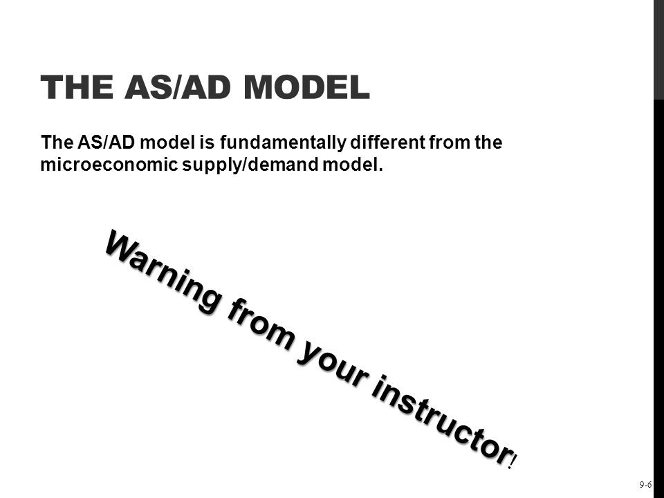 The Short-Run Keynesian Policy Model: Demand-Side Policies 9-7 THE AS/AD MODEL Microeconomic supply/demand curves concern the price and quantity of a single good.