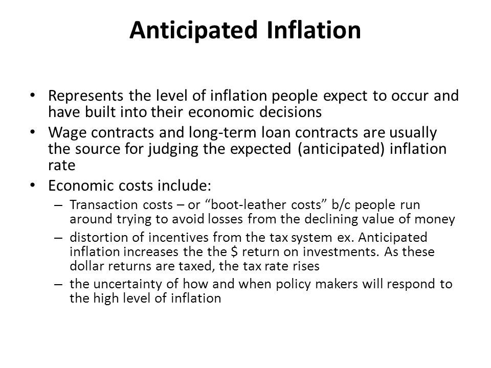 Anticipated Inflation Represents the level of inflation people expect to occur and have built into their economic decisions Wage contracts and long-te