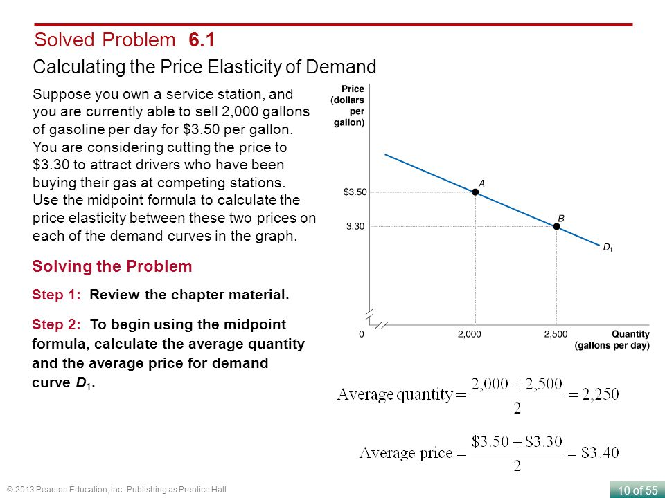 10 of 55 © 2013 Pearson Education, Inc. Publishing as Prentice Hall Solved Problem 6.1 Calculating the Price Elasticity of Demand Suppose you own a se