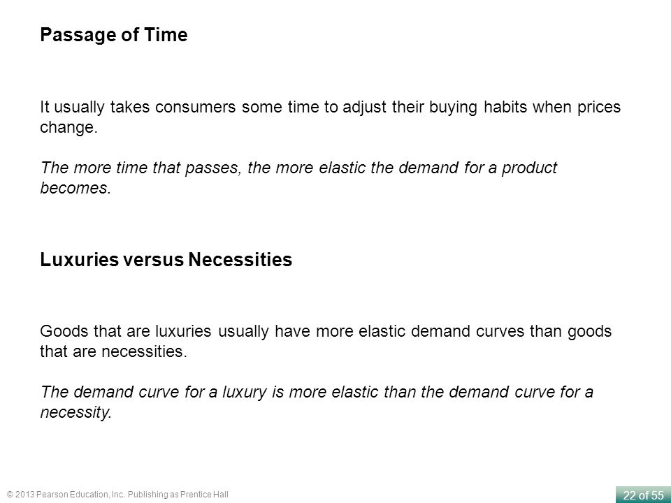 22 of 55 © 2013 Pearson Education, Inc. Publishing as Prentice Hall It usually takes consumers some time to adjust their buying habits when prices cha