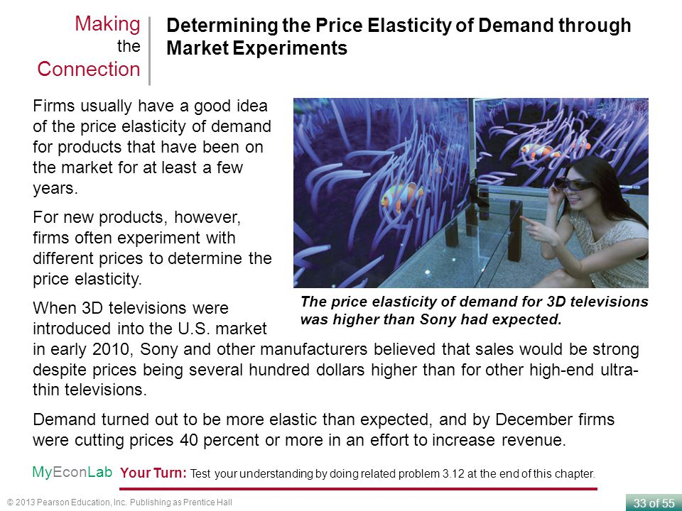 33 of 55 © 2013 Pearson Education, Inc. Publishing as Prentice Hall Determining the Price Elasticity of Demand through Market Experiments Making the C