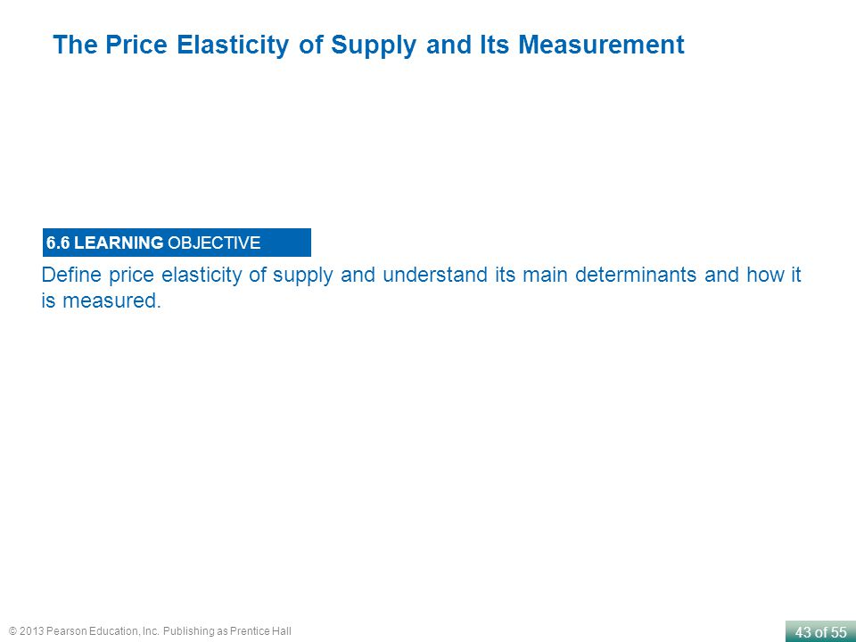 43 of 55 © 2013 Pearson Education, Inc. Publishing as Prentice Hall Define price elasticity of supply and understand its main determinants and how it