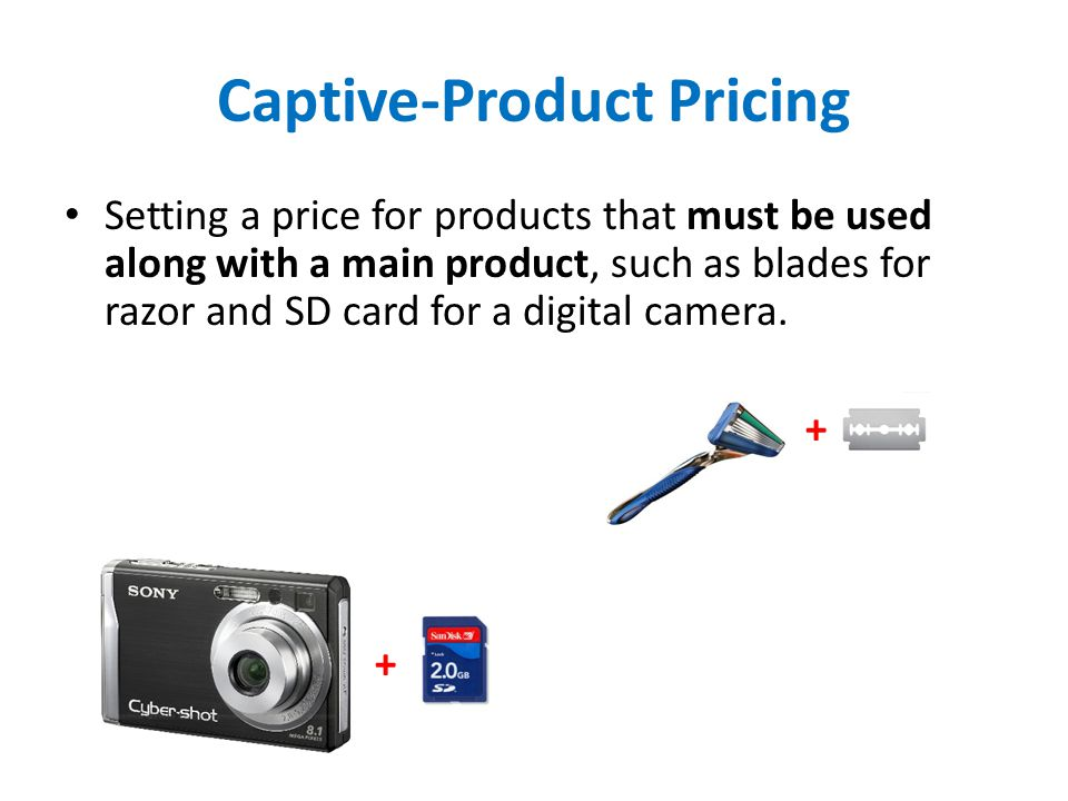 Captive-Product Pricing Setting a price for products that must be used along with a main product, such as blades for razor and SD card for a digital c