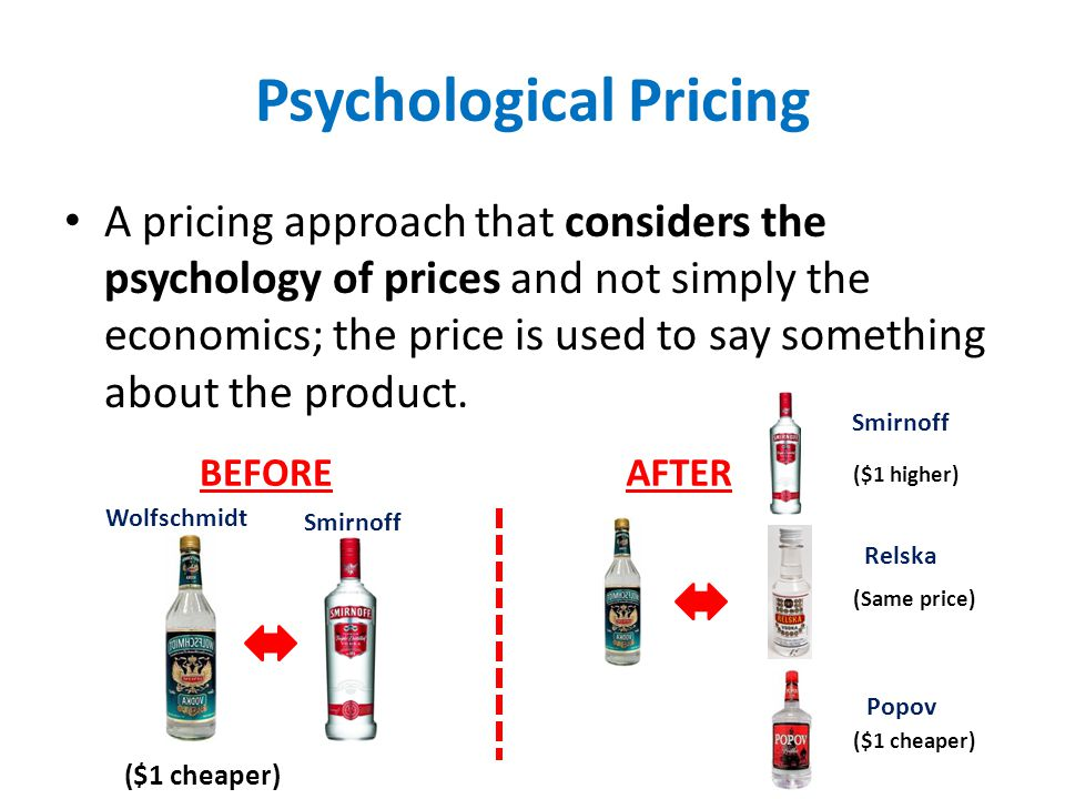 Psychological Pricing A pricing approach that considers the psychology of prices and not simply the economics; the price is used to say something abou