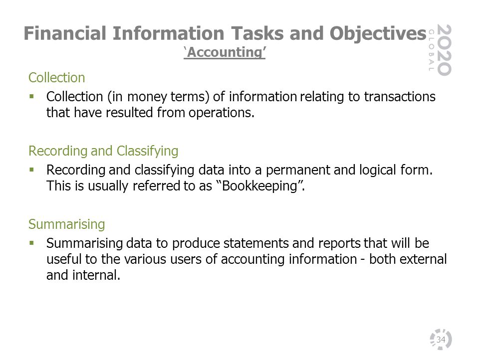Financial Information Tasks and ObjectivesAccounting 34 Collection Collection (in money terms) of information relating to transactions that have resul