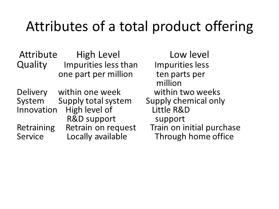 Attributes of a total product offering Attribute High Level Low level Quality Impurities less than Impurities less one part per million ten parts per