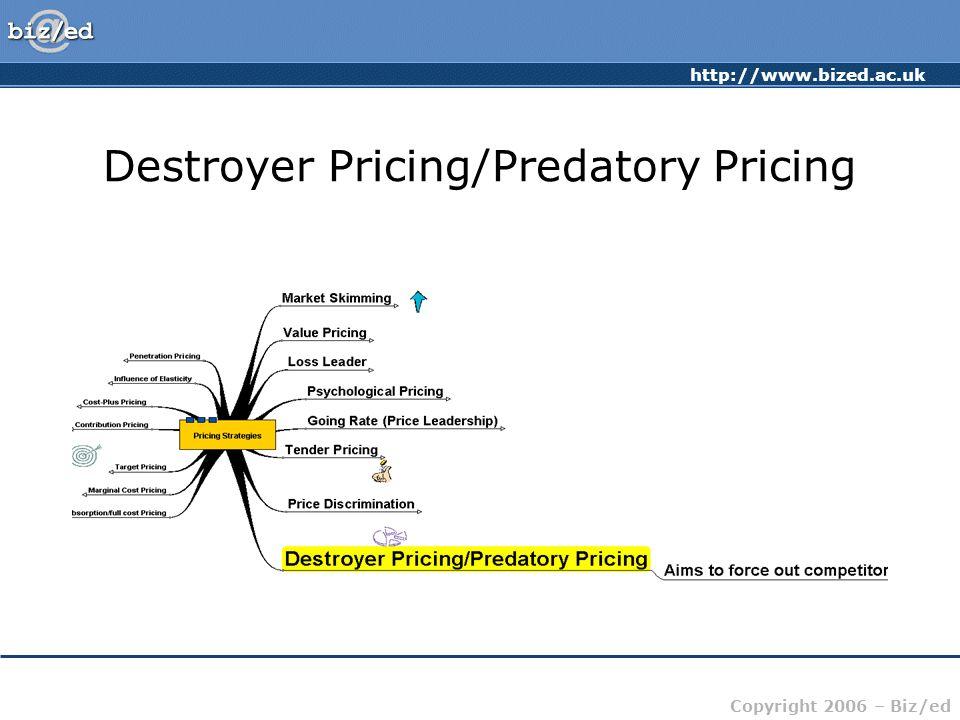 http://www.bized.ac.uk Copyright 2006 – Biz/ed Destroyer Pricing/Predatory Pricing