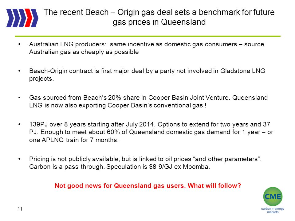 The recent Beach – Origin gas deal sets a benchmark for future gas prices in Queensland Australian LNG producers: same incentive as domestic gas consumers – source Australian gas as cheaply as possible Beach-Origin contract is first major deal by a party not involved in Gladstone LNG projects.