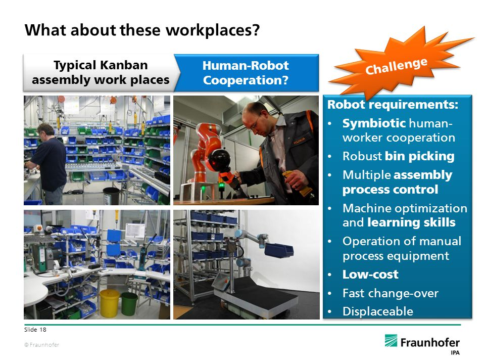© Fraunhofer Slide 18 Human-Robot Cooperation? What about these workplaces? Robot requirements: Symbiotic human- worker cooperation Robust bin picking