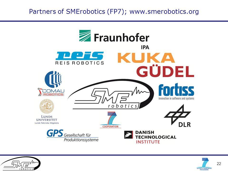 22 Partners of SMErobotics (FP7); www.smerobotics.org