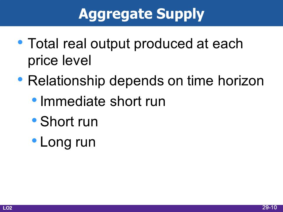 Aggregate Supply Total real output produced at each price level Relationship depends on time horizon Immediate short run Short run Long run LO2 29-10