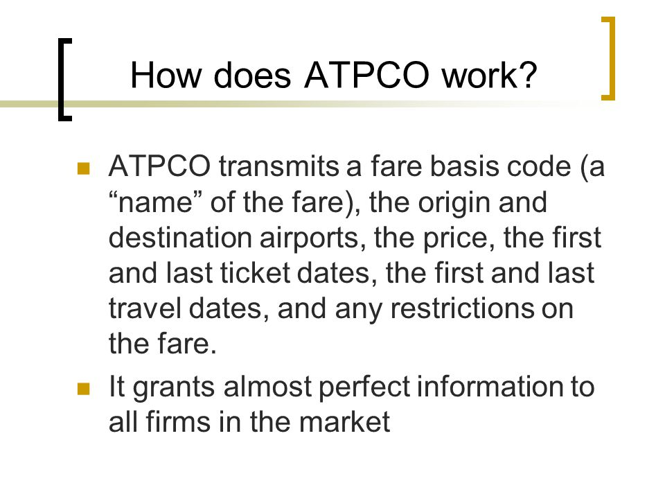 How does ATPCO work.