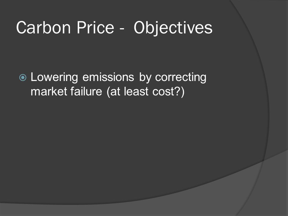 Carbon Price - Objectives Lowering emissions by correcting market failure (at least cost )