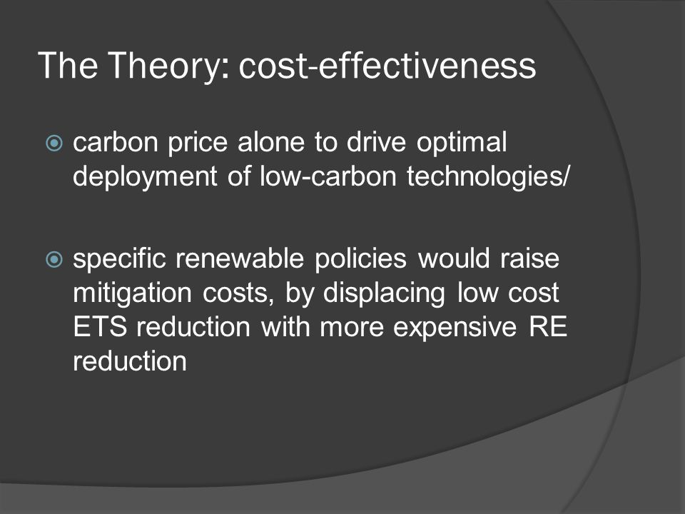 The Theory: cost-effectiveness carbon price alone to drive optimal deployment of low-carbon technologies/ specific renewable policies would raise mitigation costs, by displacing low cost ETS reduction with more expensive RE reduction