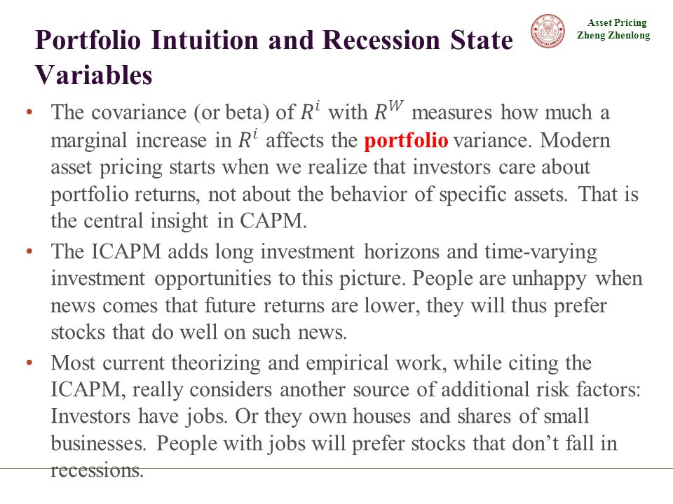 Asset Pricing Zheng Zhenlong Portfolio Intuition and Recession State Variables