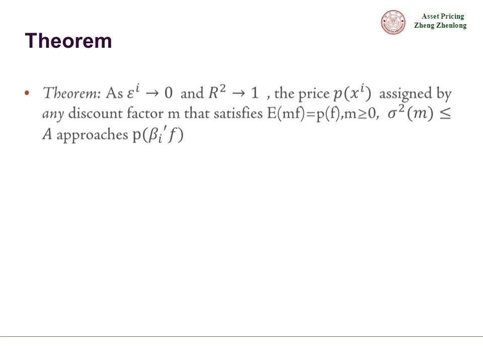 Asset Pricing Zheng Zhenlong Theorem