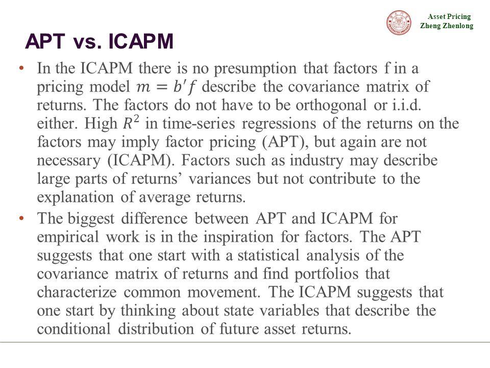 Asset Pricing Zheng Zhenlong APT vs. ICAPM