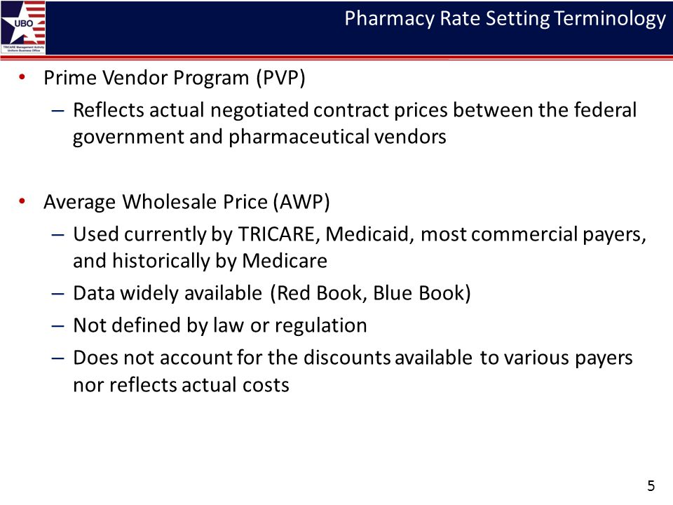 Pharmacy Rate Setting Terminology Prime Vendor Program (PVP) – Reflects actual negotiated contract prices between the federal government and pharmaceutical vendors Average Wholesale Price (AWP) – Used currently by TRICARE, Medicaid, most commercial payers, and historically by Medicare – Data widely available (Red Book, Blue Book) – Not defined by law or regulation – Does not account for the discounts available to various payers nor reflects actual costs 5