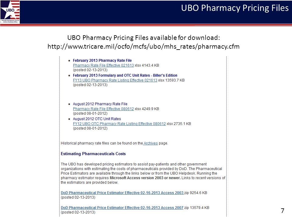 UBO Pharmacy Pricing Files UBO Pharmacy Pricing Files available for download: http://www.tricare.mil/ocfo/mcfs/ubo/mhs_rates/pharmacy.cfm 7