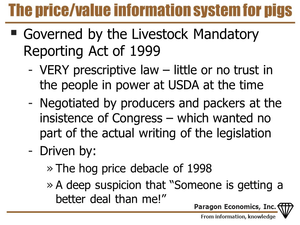 From information, knowledge Paragon Economics, Inc. The price/value information system for pigs Governed by the Livestock Mandatory Reporting Act of 1