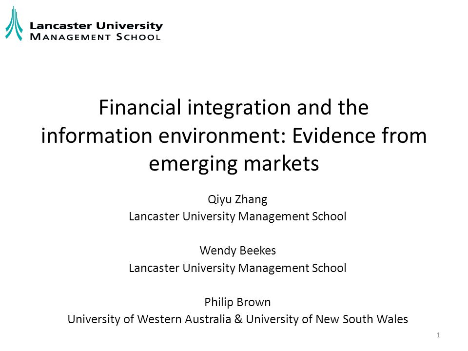 Research Question What is the association between financial integration and the information environment of a firm in emerging markets.