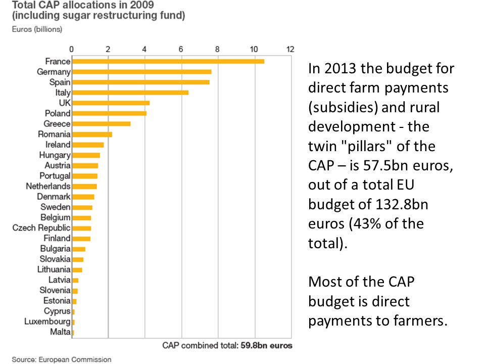 In 2013 the budget for direct farm payments (subsidies) and rural development - the twin