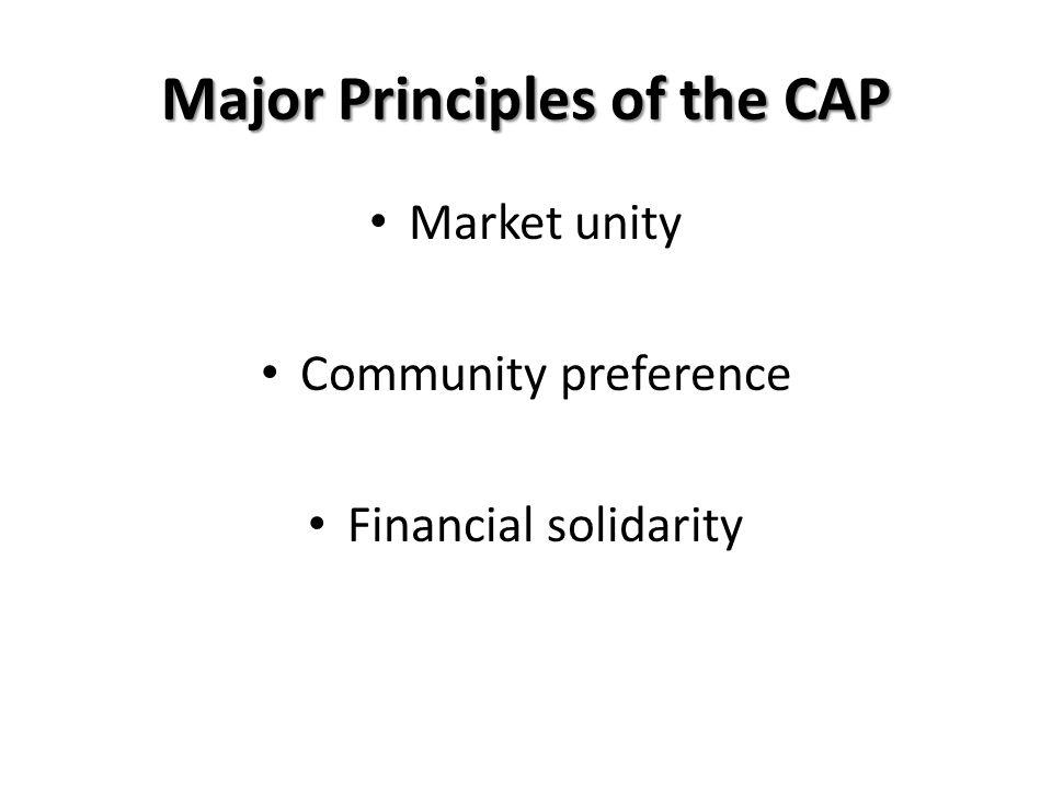 Major Principles of the CAP Market unity Community preference Financial solidarity