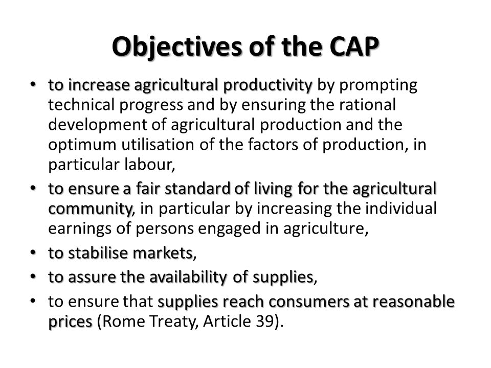 Objectives of the CAP to increase agricultural productivity to increase agricultural productivity by prompting technical progress and by ensuring the