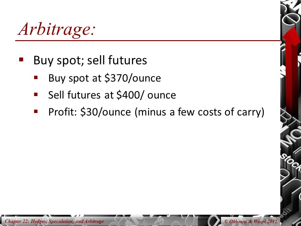 Chapter 22: Hedges, Speculation, and Arbitrage Arbitrage October 2011 Buy 100 ounces gold @$370/oz storage & insurance Sell 1 October 08 gold contract @ $400/ozInitial Margin Borrow at 5% for 12 months Initial Investment October 2012 Deliver gold @ $400 contracted price Margin returned Repay loanPrincipal interest Arbitrage Profit © Oltheten & Waspi 2012