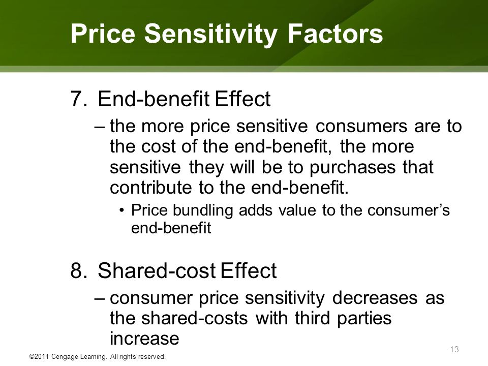 7.End-benefit Effect –the more price sensitive consumers are to the cost of the end-benefit, the more sensitive they will be to purchases that contrib