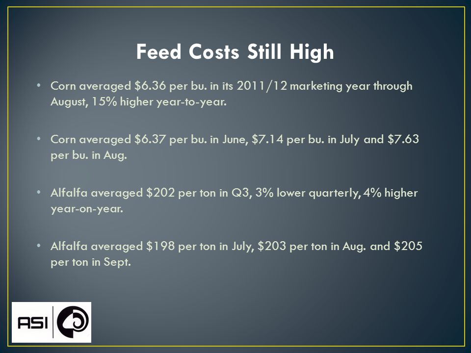 Feed Costs Still High Corn averaged $6.36 per bu.