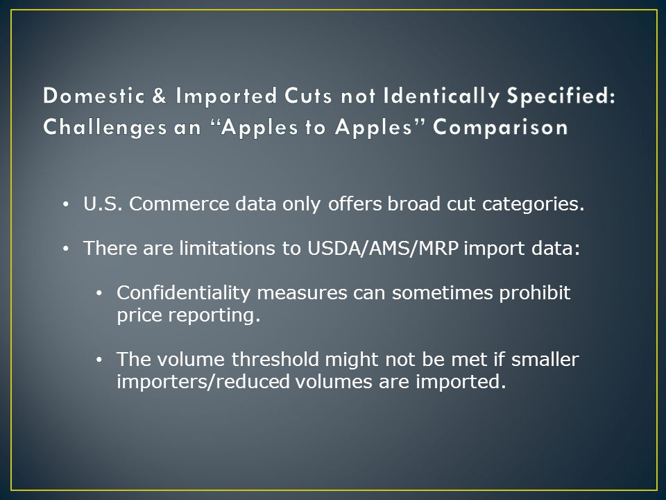 U.S. Commerce data only offers broad cut categories.