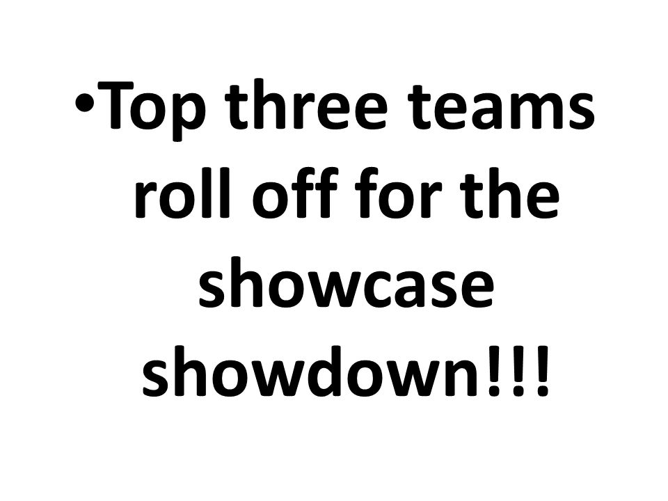 Top three teams roll off for the showcase showdown!!!