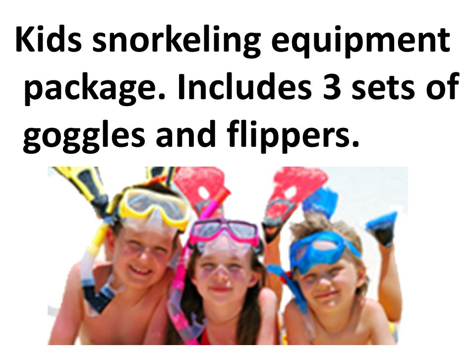 Kids snorkeling equipment package. Includes 3 sets of goggles and flippers.