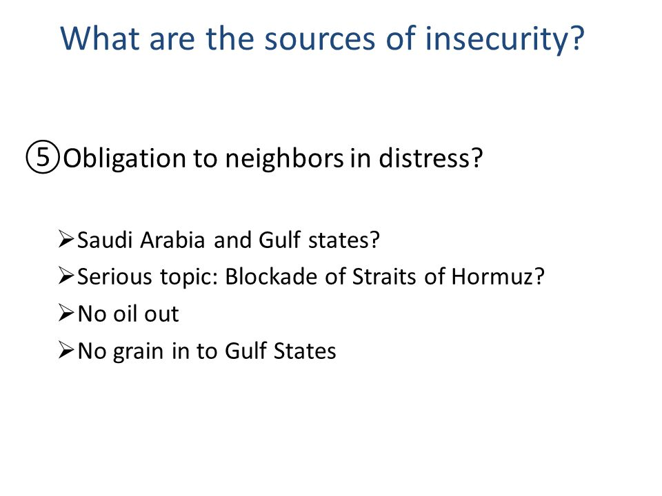What are the sources of insecurity. Obligation to neighbors in distress.