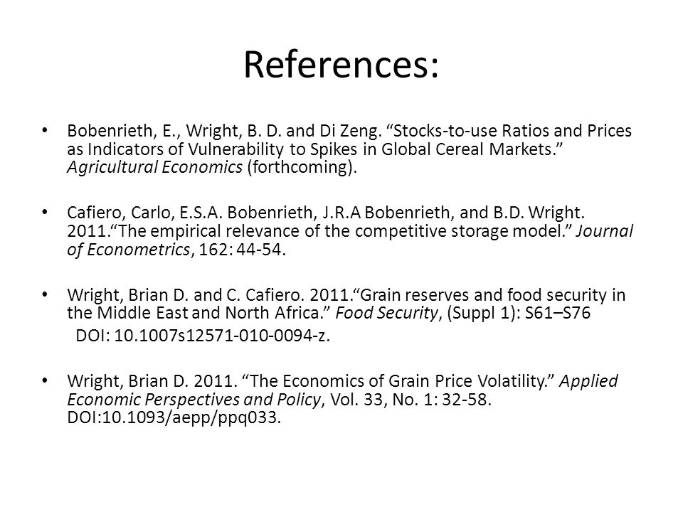 References: Bobenrieth, E., Wright, B.D. and Di Zeng.