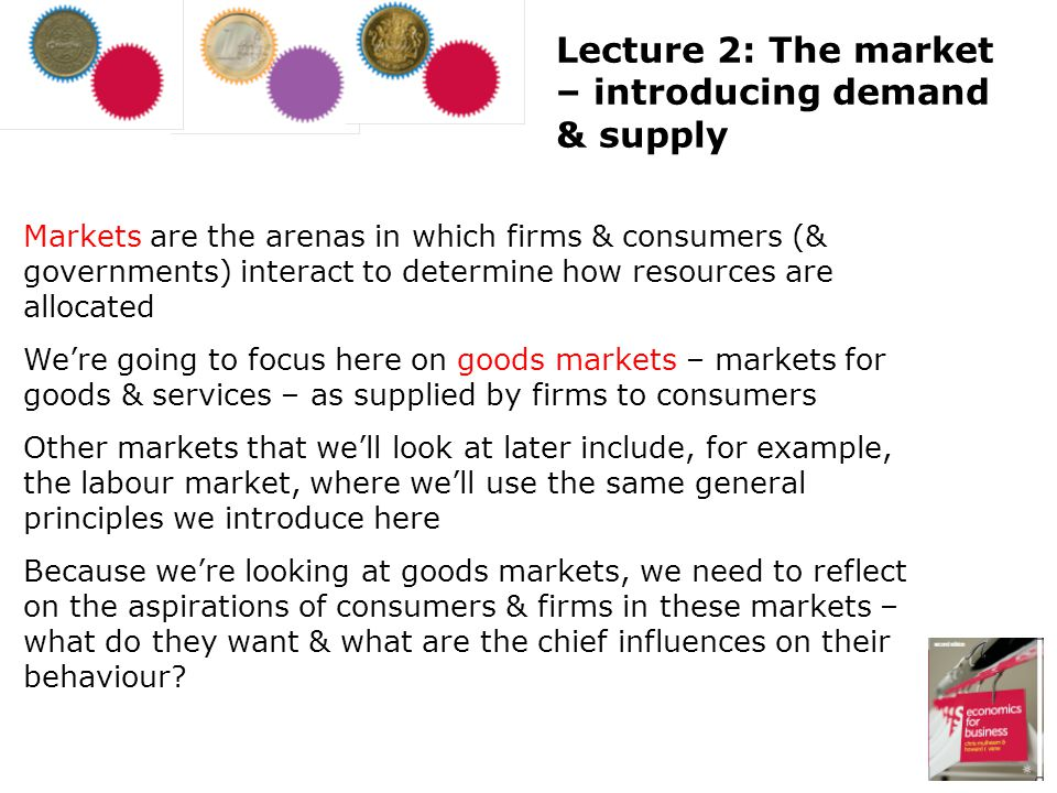 Markets are the arenas in which firms & consumers (& governments) interact to determine how resources are allocated Were going to focus here on goods