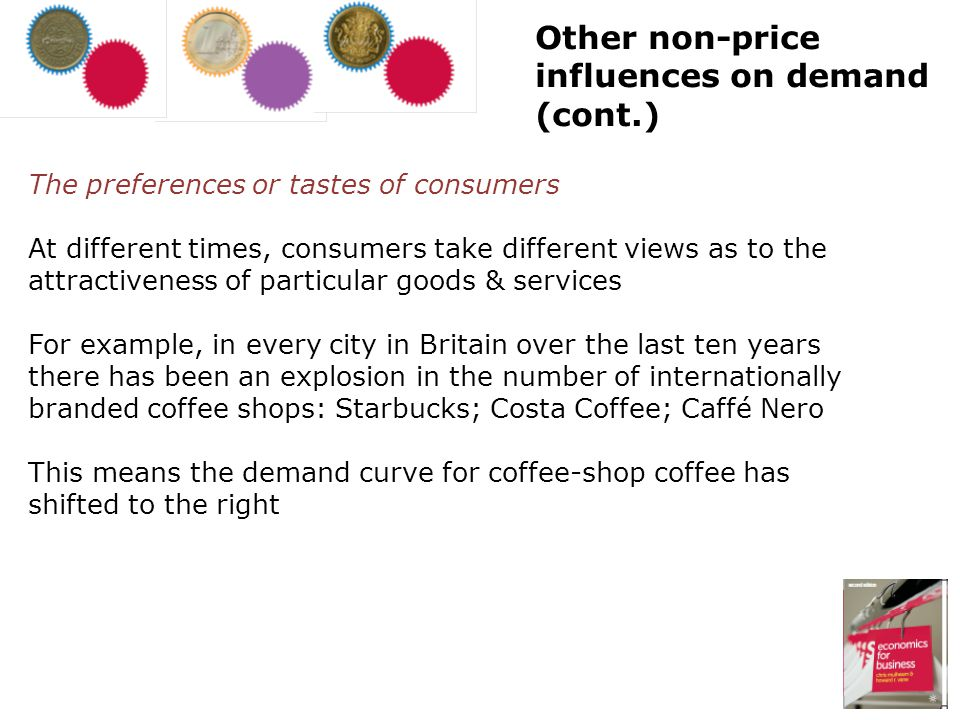 The preferences or tastes of consumers At different times, consumers take different views as to the attractiveness of particular goods & services For