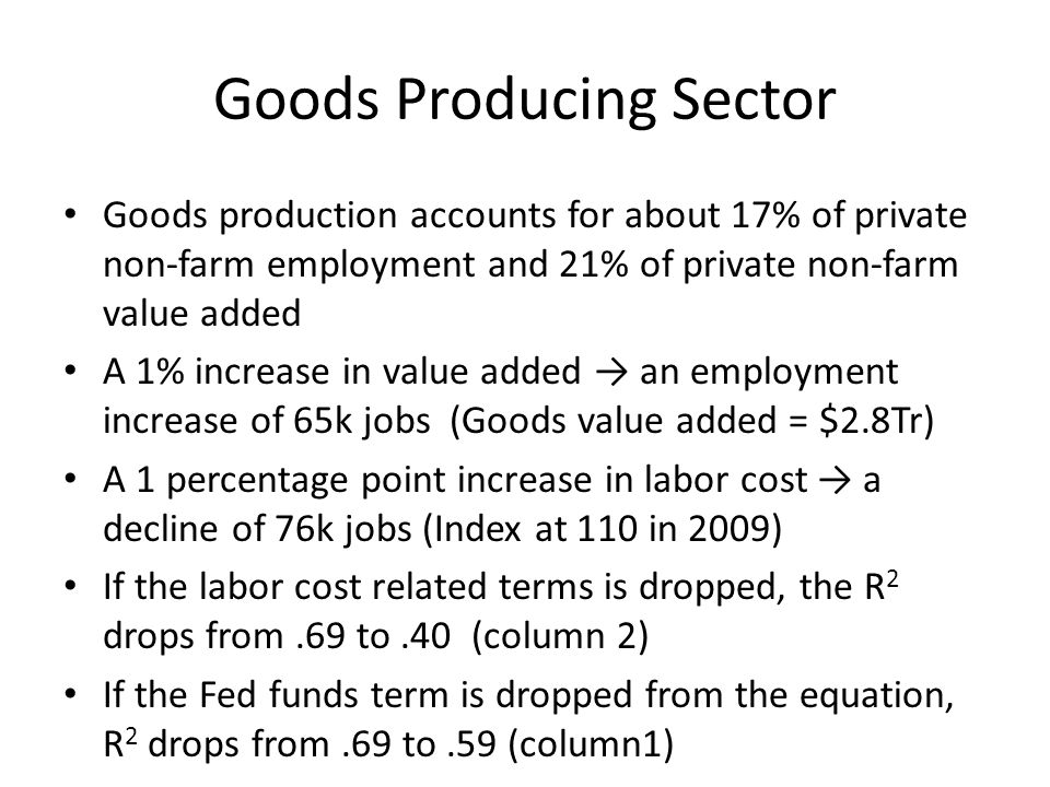 Goods Producing Sector Goods production accounts for about 17% of private non-farm employment and 21% of private non-farm value added A 1% increase in value added an employment increase of 65k jobs (Goods value added = $2.8Tr) A 1 percentage point increase in labor cost a decline of 76k jobs (Index at 110 in 2009) If the labor cost related terms is dropped, the R 2 drops from.69 to.40 (column 2) If the Fed funds term is dropped from the equation, R 2 drops from.69 to.59 (column1)