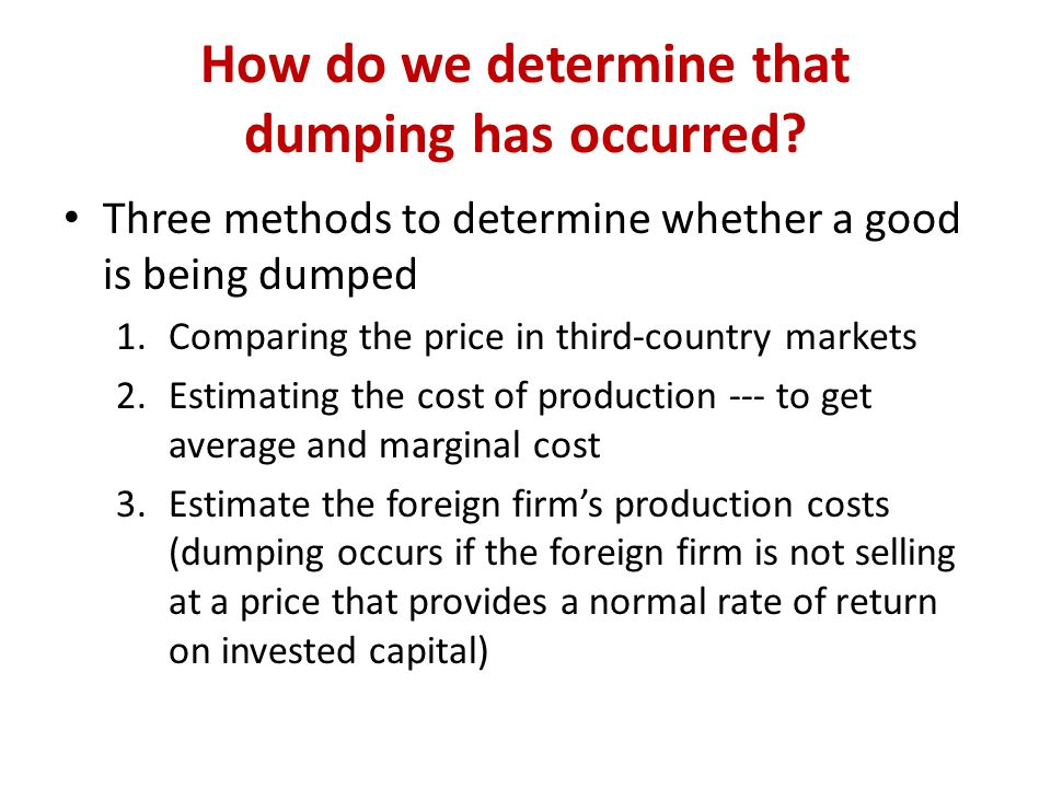 How do we determine that dumping has occurred.