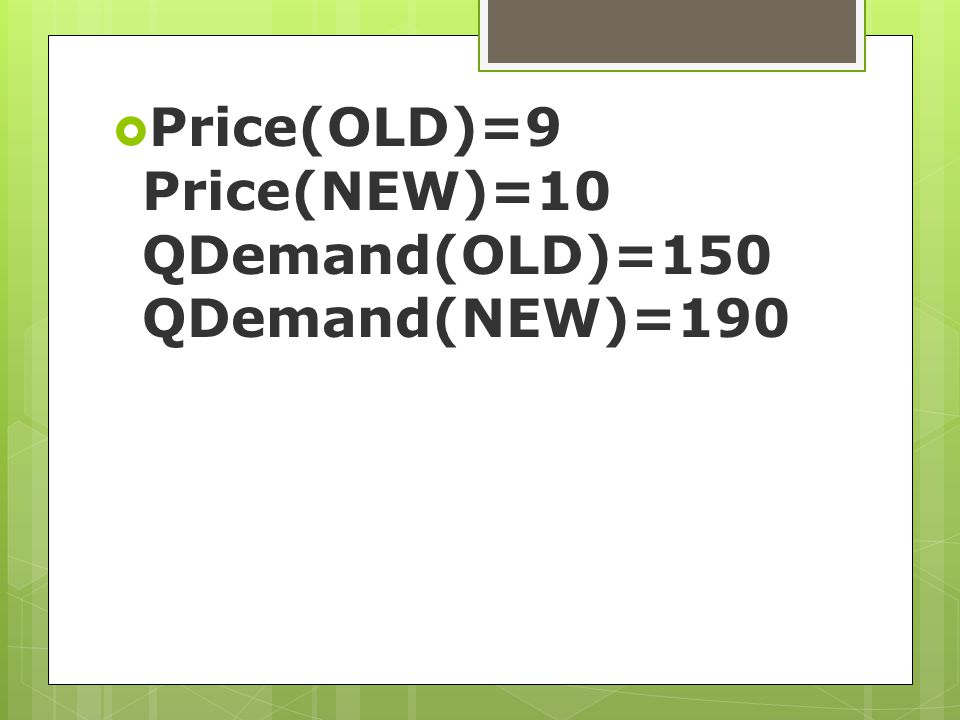 Price(OLD)=9 Price(NEW)=10 QDemand(OLD)=150 QDemand(NEW)=190