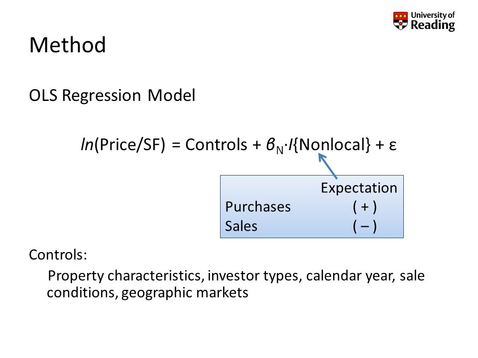 Method OLS Regression Model ln(Price/SF) = Controls + β N ·I{Nonlocal} + ε Controls: Property characteristics, investor types, calendar year, sale conditions, geographic markets Expectation Purchases ( + ) Sales ( – )