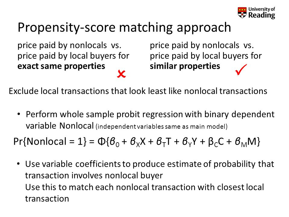 Propensity-score matching approach price paid by nonlocals vs.