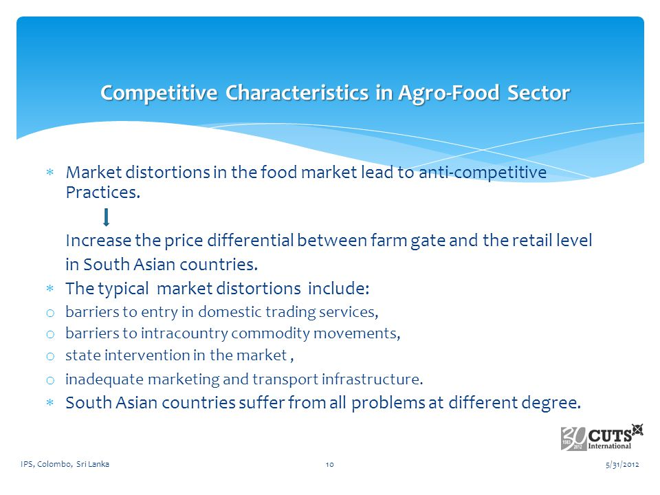 Market distortions in the food market lead to anti-competitive Practices.