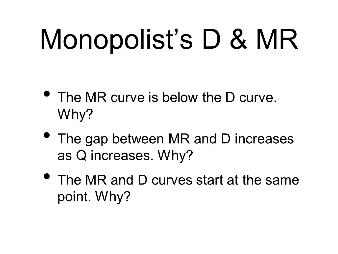 Monopolists D & MR The MR curve is below the D curve.